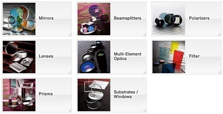 OptoSigma Optics, Coating Products: Mirrors, Beamsplitters, Polarisers, Lenses, Multi-Element Optics, Filter, Prisms, Substrates/Windows