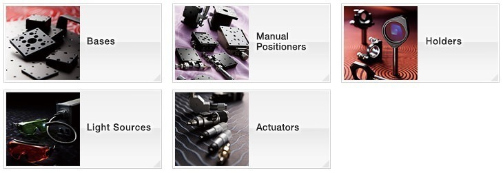 OptoSigma Opt-mechanics, Manual Stages & Holders: Bases, Manual Positioners, Holders, Light Sources, Actuators